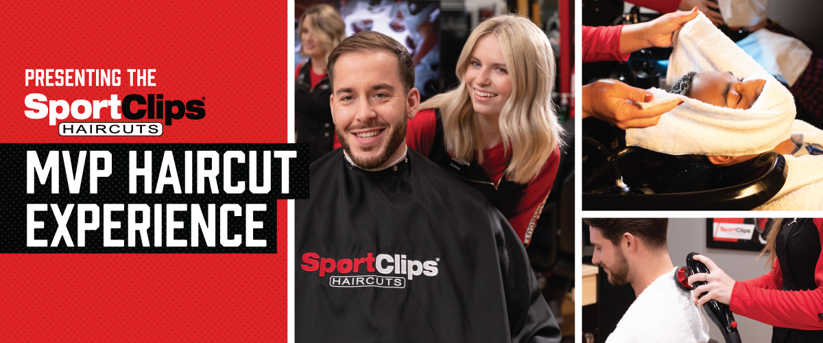 The Sport Clips Haircuts of Rocky River  MVP Haircut Experience with stylist giving a client a haircut, a hot towel placed on his face, and using a massager on a clients upper back